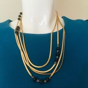 Gold Beaded chain multi strand necklace